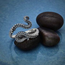 Sterling Silver Octopus Tentacle Adjustable Ring
