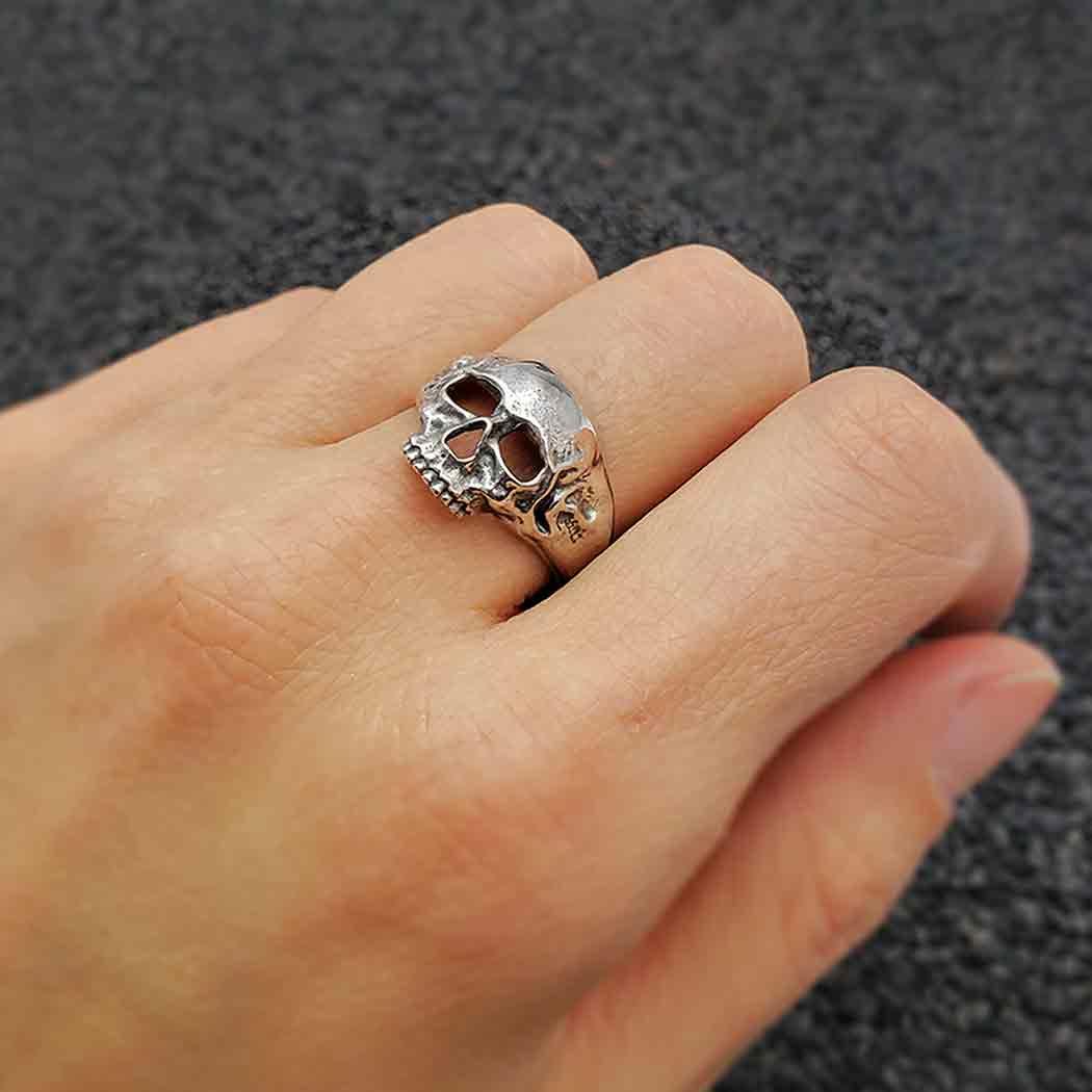 Sterling Silver Chunky Skull Ring