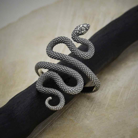 Sterling Silver Textured Adjustable Snake Ring