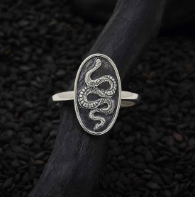 Sterling Silver Oval Snake Ring