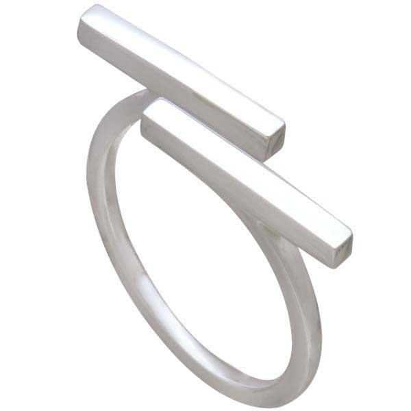 Sterling Silver Horizontal Bar Adjustable Ring