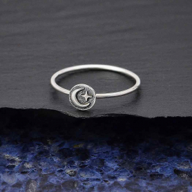 Sterling Silver Raised Moon and Star Stacking Ring