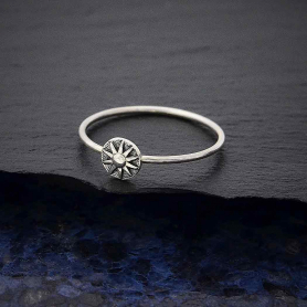 Sterling Silver Raised Sun Stacking Ring