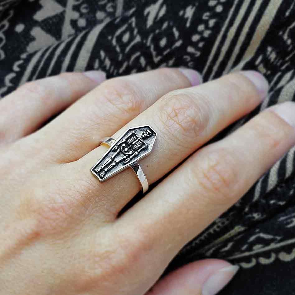 Sterling Silver Skeleton Coffin Ring