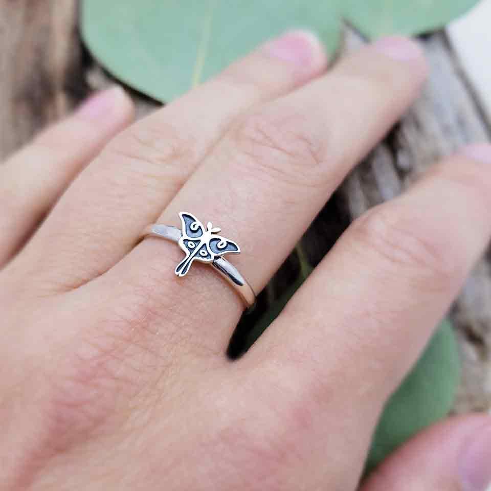 Sterling Silver Luna Moth Ring