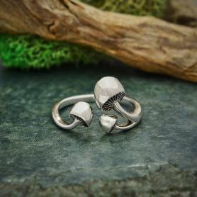Sterling Silver Adjustable Three Mushroom Ring