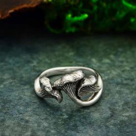 Sterling Silver Chanterelle Mushroom Ring