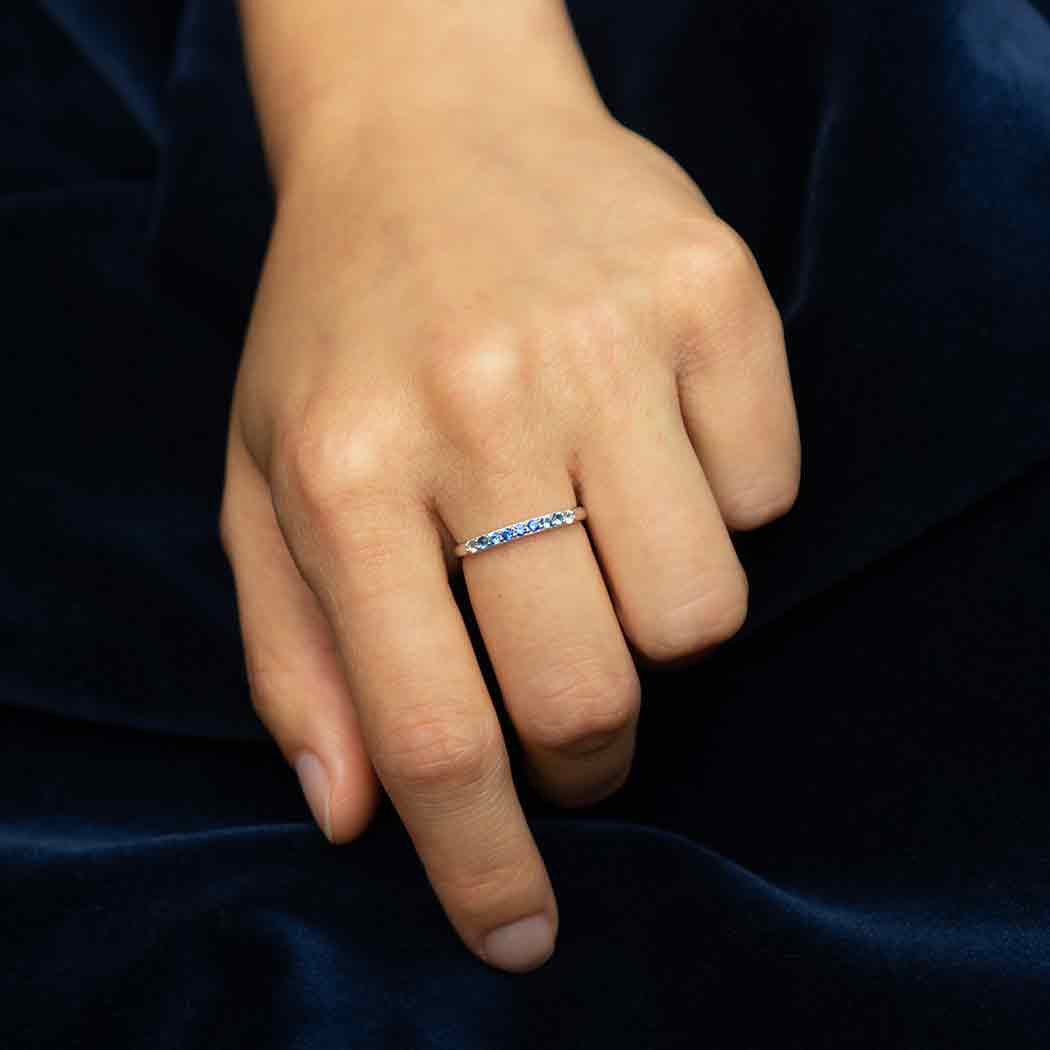 Sterling Silver Blue Ombre Nano Gem Ring