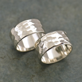 Sterling Silver Ring - Wide Hammered Ring