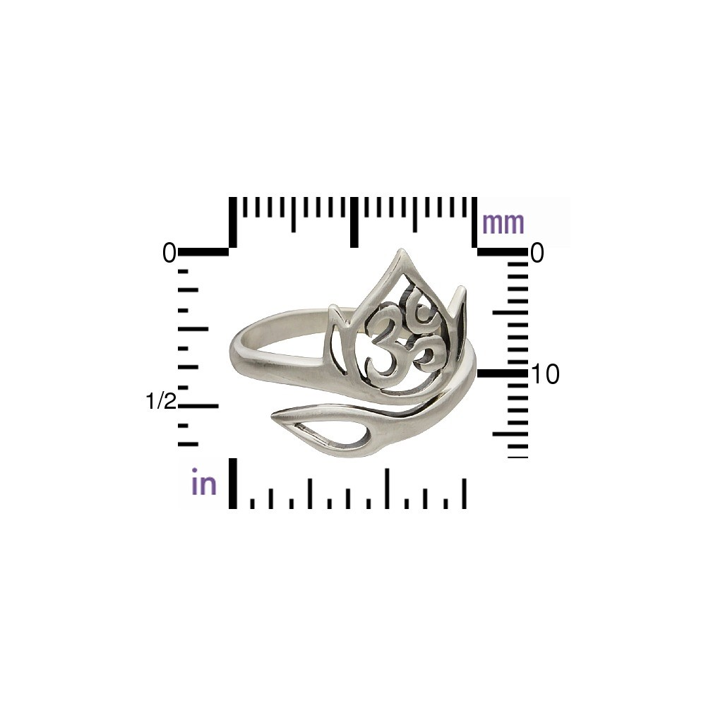 Sterling Silver Adjustable Ring - Openwork Lotus and Om