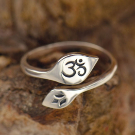 Sterling Silver Adjustable Ring - Lotus and Om
