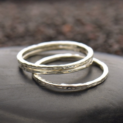 Sterling Silver Hammered Band Stacking Ring