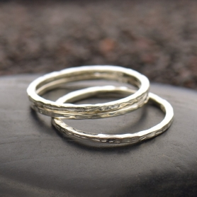 Sterling Silver Ring - Hammered Stacking Ring