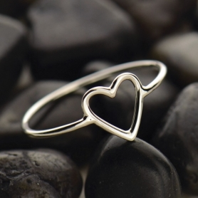 Sterling Silver Ring - Open Heart Ring