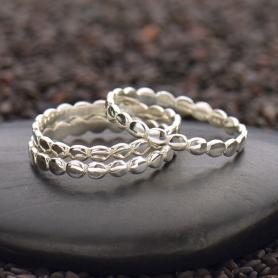 Sterling Silver Stacking Ring - Dot Pattern