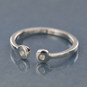 Silver Adjustable Ring w Two Genuine Diamonds DISCONTINUED