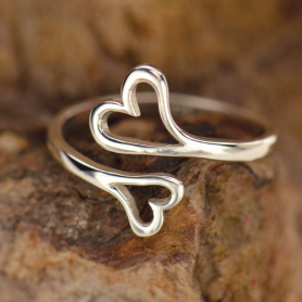 Sterling Silver Adjustable Ring - Double Heart