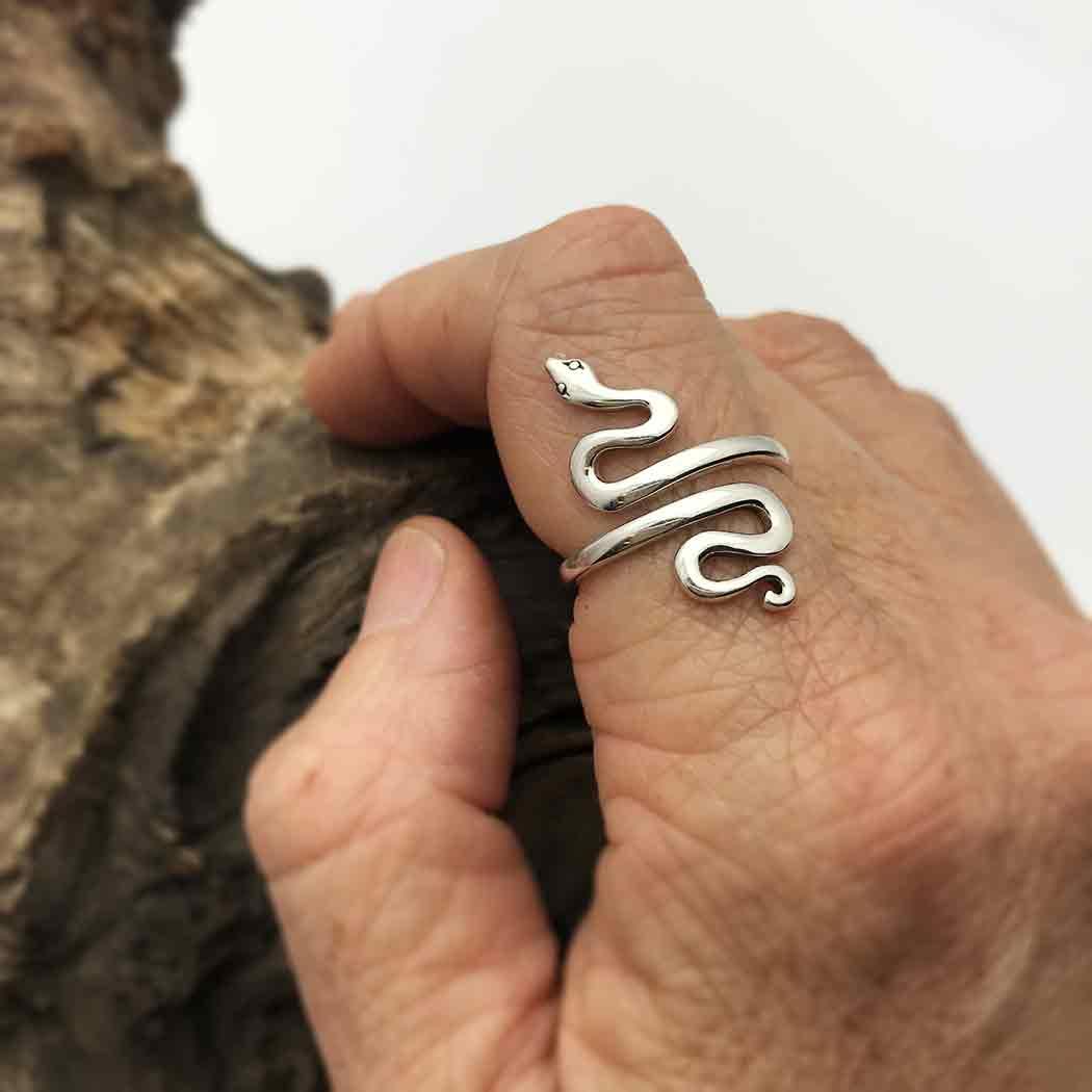 Sterling Silver Adjustable Ring - Snake Ring