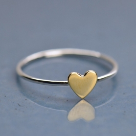 Sterling Silver Ring - Tiny Bronze Heart Ring
