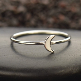 Sterling Silver Ring - Tiny Moon Ring