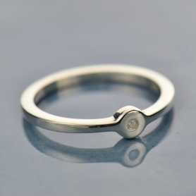 Sterling Silver Ring - Genuine Diamond Stacking Ring