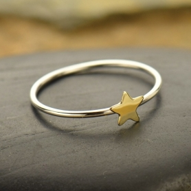 Sterling Silver Ring - Tiny Bronze Star Ring