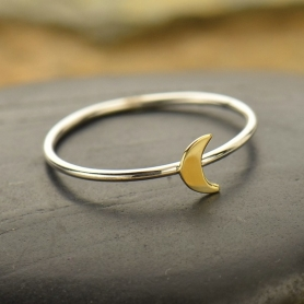Sterling Silver Ring - Tiny Bronze Moon Ring
