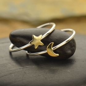 Sterling Silver Ring Set - Bronze Moon and Star Rings