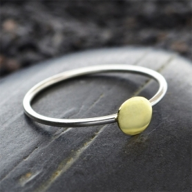 Sterling Silver Stacking Ring with Bronze Dot