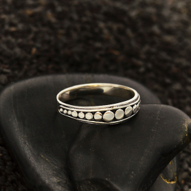 Sterling Silver Stacking Ring with Flat Granulation
