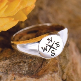 Sterling Silver Ring - Compass Signet Ring DISCONTINUED