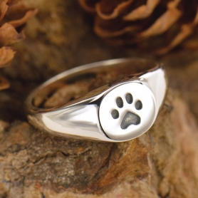 Sterling Silver Ring - Paw Print Signet Ring DISCONTINUED