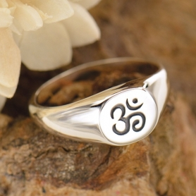 Sterling Silver Ring - Ohm Signet Ring DISCONTINUED