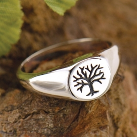Sterling Silver Ring - Tree of Life Signet Ring DISCONTINUED
