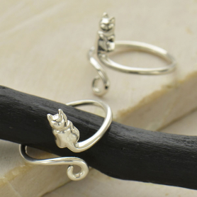 Sterling Silver Cat Ring - Adjustable Ring