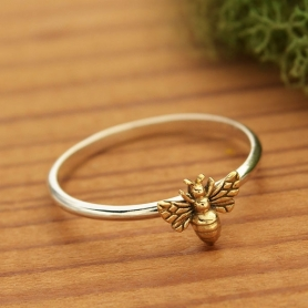 Sterling Silver Ring - Tiny Bronze Bee Ring