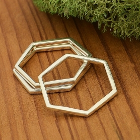 Sterling Silver Ring - Hexagon Honeycomb Stacking Ring