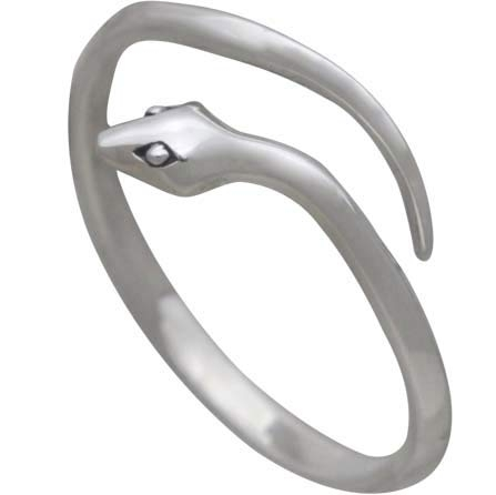 Sterling Silver Adjustable Simple Snake Ring