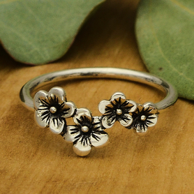 Sterling Silver Cherry Blossom Ring