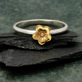 Sterling Silver Ring with Bronze Cherry Blossom