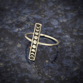Sterling Silver Vertical Bar Ring with Moon Phases