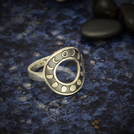 Sterling Silver Moon Phase Ring Circle Shape