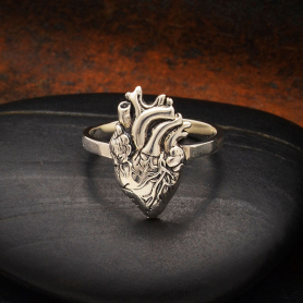 Sterling Silver Anatomical Heart Ring