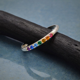 Sterling Silver Rainbow Stacking Ring with Nano Gems