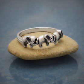 Sterling Silver Ring with Three Elephants
