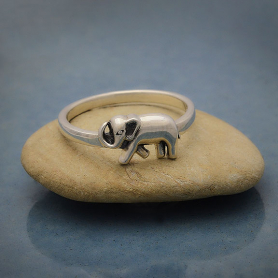Sterling Silver Ring with Single Elephant