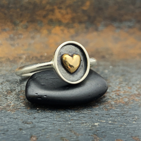 Sterling Silver Shadowbox Ring with Bronze Heart