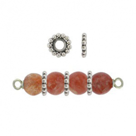 Sterling Silver Spacer Beads with Ring of Granulation