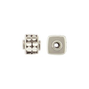 Sterling Silver Bead - Cube with Circles 6x5mm