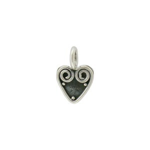 Sterling Silver Heart Dangle with Wire Work 11x7mm